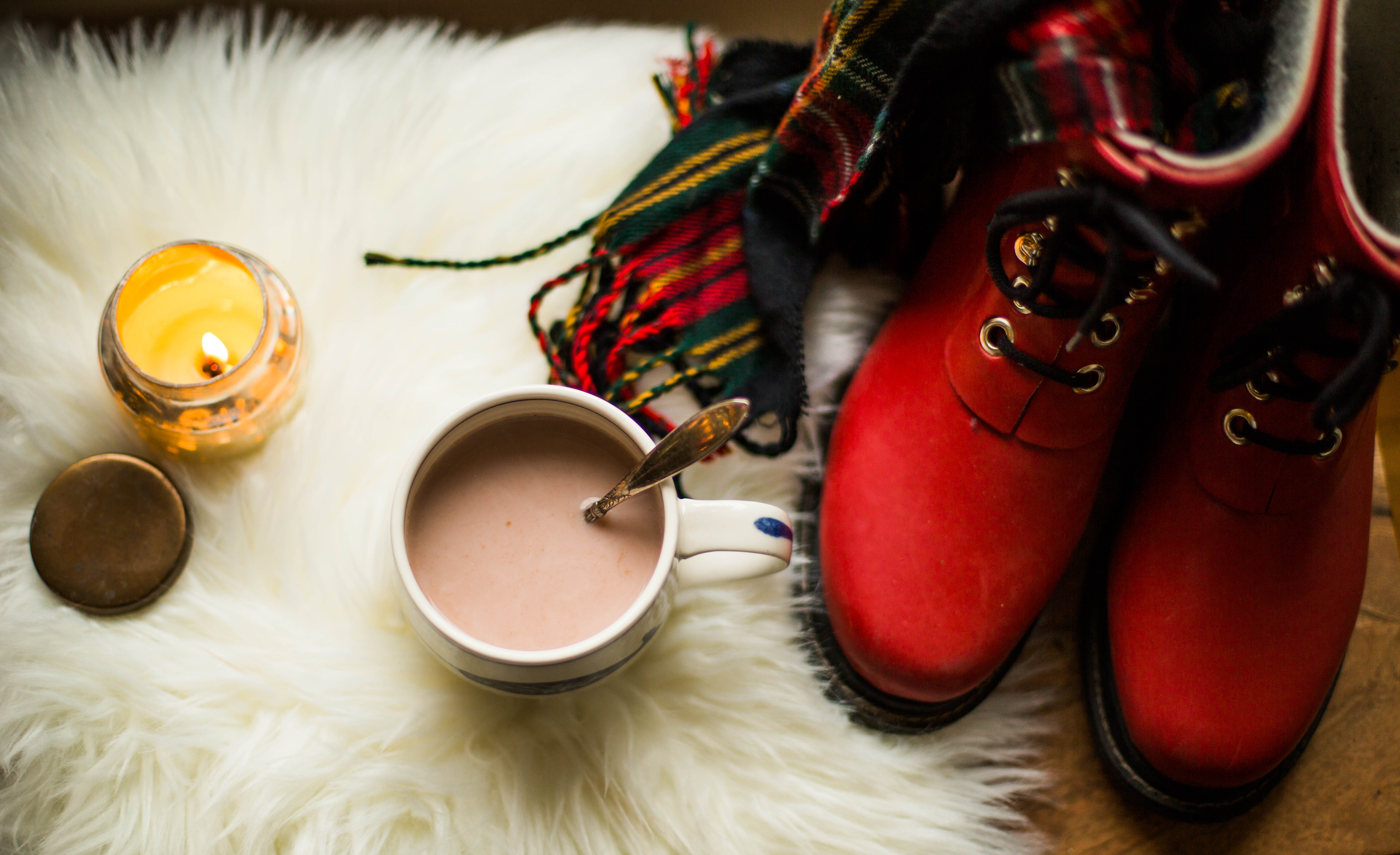 snow days and preparing for them- red boots, my favorite narwhal mug, a cozy rug and cookies